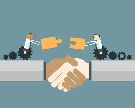 Businessmen on gear wheel with puzzle pieces: Shaking hands with two business people with matching puzzle pieces. Vector illustration business solution concept.