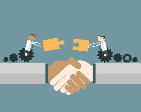 Hombres de negocios en rueda de engranaje con las piezas del rompecabezas: Estrechar la mano de dos personas de negocios se combina con piezas de un rompecabezas. Vector ilustración concepto de solución de negocios.