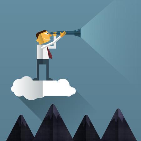 Smart Businessman looks through his telescope on cloud.Vision business concept