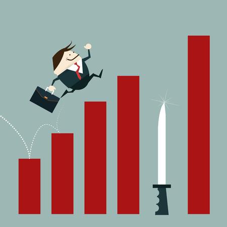 Zakenman het risico van de investering mistakes.Losing Winst risico en Investment gevaar als een financiële en business concept