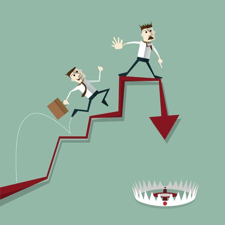 pitfall: Businessman risk of investment mistakes. business concepts