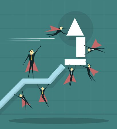 super market: Illustration of businessman flying with arrow and trying to improve achievement graph.Teamwork  business concepts