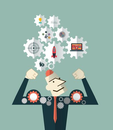 brain storming: Strong Businessman and head with the symbol gears icons . Brain storming, successful business idea concept.  Flat Design Vector Illustration