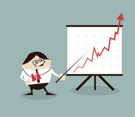 arrow up: Vector illustration Businessman and positive graph,businessman proudly present growing business statistics and profit. Business concept. Illustration