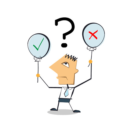 sign making: Vector illustration businessman Cartoon character holding balloons with Yes or No sign, making decision between right or wrong represent