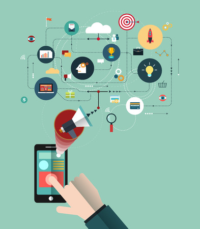 connect people: Hand of Business people with the phone connect in the online space. Concept of communication-Marketing network. Business technology