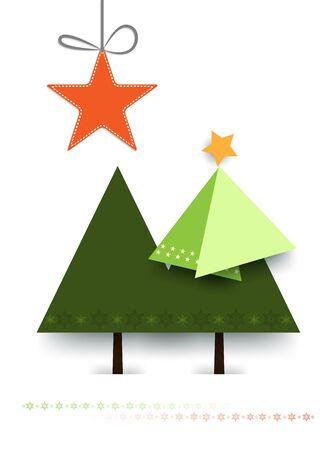 albero pino: Minimal Greeting Card Natale carta design-albero di pino di Natale su sfondo bianco, con spazio per text.Vector illustrazione