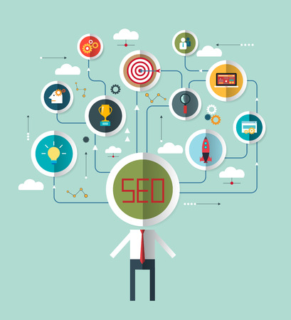 symbolized: Flat design vector illustration businessman with SEO word - combined from elements and icons which symbolized, internet searching optimization process