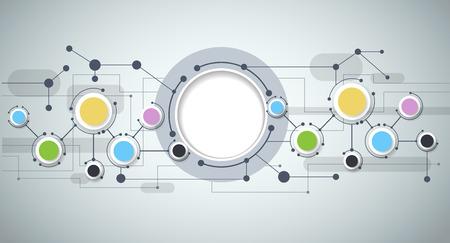 interaccion social: Moléculas abstractas y tecnología de la comunicación con los círculos integrados con el espacio en blanco para su diseño. Vector ilustración del concepto de medios de comunicación social a nivel mundial. Luz de fondo de color gris. Vectores