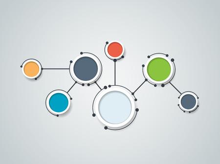 Vector illustration de molécules abstraites et de la communication - concept de la technologie des médias sociaux avec la conception des cercles de l'étiquette et de l'espace pour votre contenu, entreprises, médias sociaux, réseau et web design.