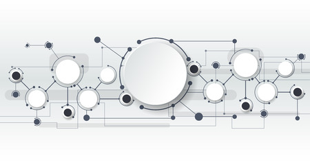 Vector illustration of abstract molecules and communication - social media technology concept with label circles design and space for your content, business, social media, network and web design.   Light gray color background. Illustration