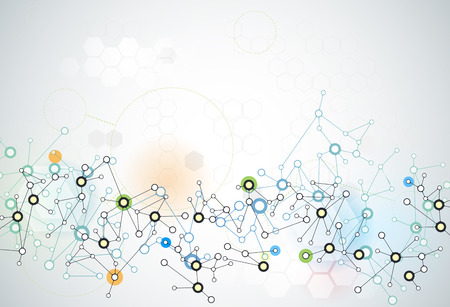 抽象的な未来 - 分子技術の背景。イラスト ベクター デザイン、デジタル技術の接続概念。あなたのデザインの空白