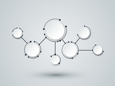 computer network diagram: Abstract molecules and communication technology with integrated circles with Blank space for your design. Vector illustration global social media concept.  Light gray color background.