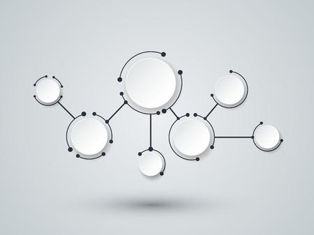 Moléculas abstractas y tecnología de la comunicación con los círculos integrados con el espacio en blanco para su diseño. Vector ilustración del concepto de medios de comunicación social a nivel mundial. Luz de fondo de color gris. Ilustración de vector