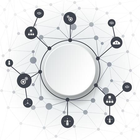 Moléculas abstractas. Tecnología de comunicación y círculos integrados con espacio en blanco para su diseño. Vector ilustración redes sociales, Cloud Computing y el concepto de redes. Fondo de color gris claro Ilustración de vector