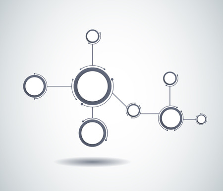 communication concept: Abstract molecules and communication technology with integrated circles with  Blank space for your design. Vector illustration global social media concept.  Light gray color background.