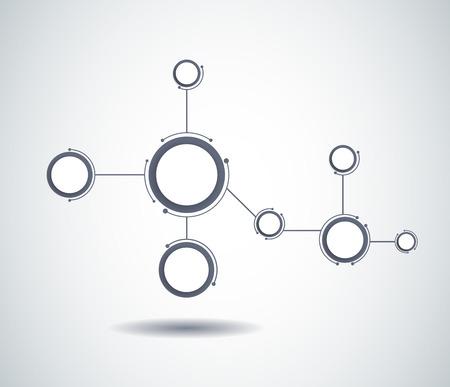 fila de personas: Mol�culas abstractas y tecnolog�a de la comunicaci�n con los c�rculos integrados con el espacio en blanco para su dise�o. Vector ilustraci�n del concepto de medios de comunicaci�n social a nivel mundial. Luz de fondo de color gris. Vectores