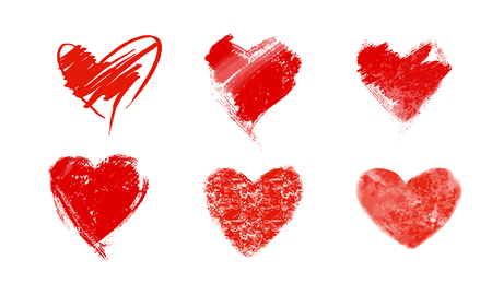 hearts background: Vector illustration icon set of red hearts shape for Valentines Day.Mix techniques set of drawn by hand, painted in watercolor, grunge texture. Isolated on white background