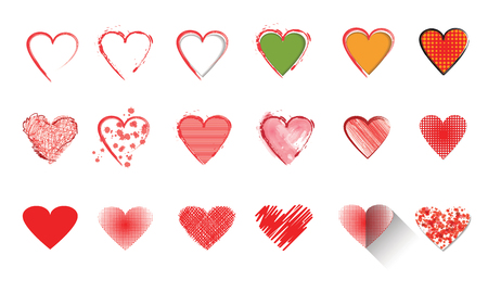 white heart: Vector illustration icon set of red hearts shape for Valentines Day.Mix techniques design, drawn by hand, paint in watercolor, seamless patterns and flat icon long shadow.Isolated on white background