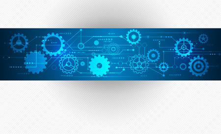 Vector Abstract futuristic, Stripe line printed circuit board pattern with gear wheel and arrow symbol on blue color background. Light grey color background with blank space for design