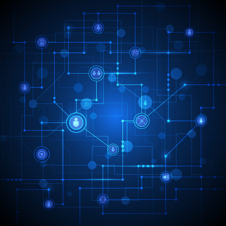 network: Abstract Technology connection background with integrated circles and icons for digital, connect, internet network.  Global social media concepts. Vector Illustration Technology, blue color background