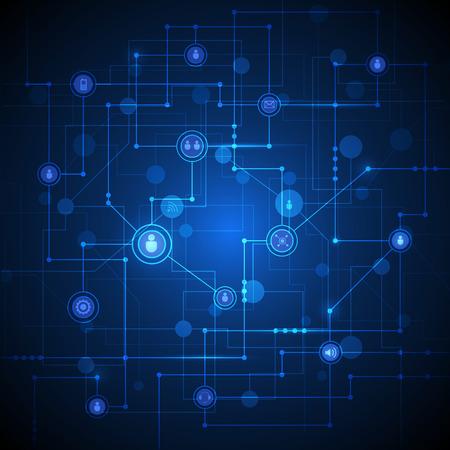 trabajo social: Fondo de la conexión Tecnología de fondo con círculos integrados e iconos para digital, conexión, la red de Internet. conceptos de redes sociales globales. Ilustración del vector Tecnología, el color azul de fondo