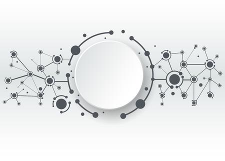 interaccion social: Ilustración vectorial de moléculas abstractas y la comunicación - social Concepto de tecnología de los medios con los círculos de la etiqueta de papel 3D de diseño y espacio para su contenido, negocios, medios de comunicación social, la red y el diseño web.