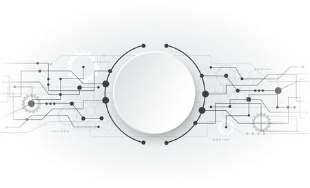 技術: 矢量插圖抽象未來派電路板,高科技電腦數碼技術的概念,空白的3D紙圈為您設計的淺灰色背景