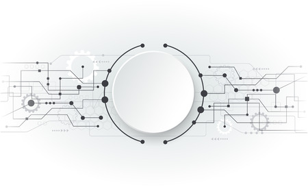 info board: Vector illustration Abstract futuristic circuit board, hi-tech computer digital technology concept, Blank white 3d paper circle for your design on light grey color background