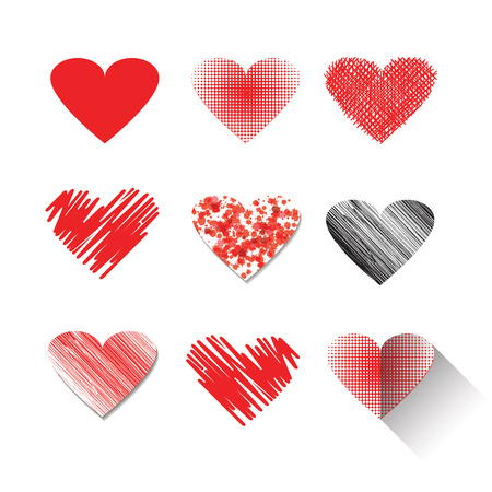 red love heart with flames: Vector illustration icon set of red hearts shape for Valentines Day.Mix techniques design, drawn by hand, paint in watercolor, seamless patterns and flat icon long shadow.Isolated on white background