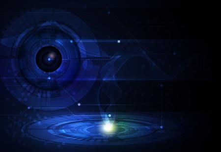 wavelength: Vector ilustraci�n Resumen futurista. Globo del ojo con la l�nea de circuito y la longitud de onda, el concepto de tecnolog�a de alta ordenador. De color azul en el fondo espacio para el dise�o