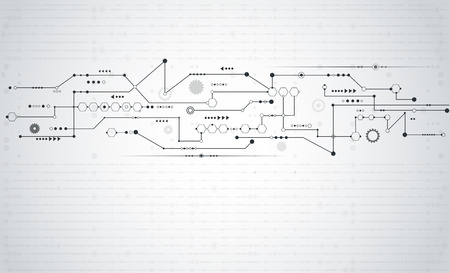 технология: Вектор Аннотация futuristic.Stripe линия платы узор с шестерней и стрелка symbol.Communication и инженерные технологии концепция. Светло-серый цвет фона с пустым пространством для дизайна