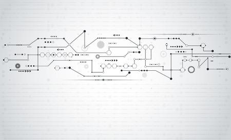 テクノロジー: ベクトルの抽象的な未来。歯車と矢印と symbol.Communication と工学技術の概念とストライプ ライン回路基板パターン。薄い灰色背景デザインの空白に