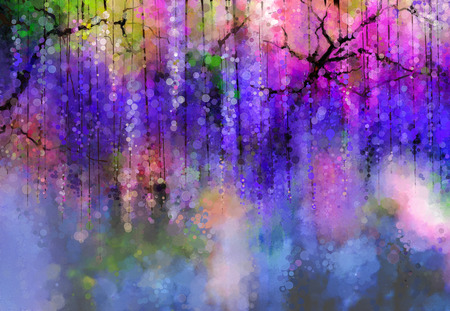 Abstract violet, red and yellow color flowers. Watercolor painting. Spring purple flowers Wisteria in blossom with bokeh background