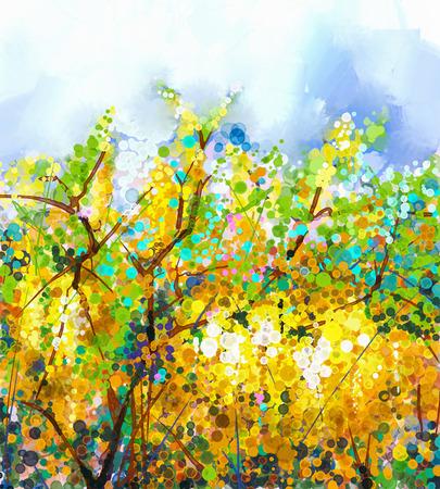 Résumé fleurs aquarelle mélange de peinture de couleur à l'huile. Printemps arbre fleurs jaunes de Wisteria jaune et bleu douce couleur de fond.
