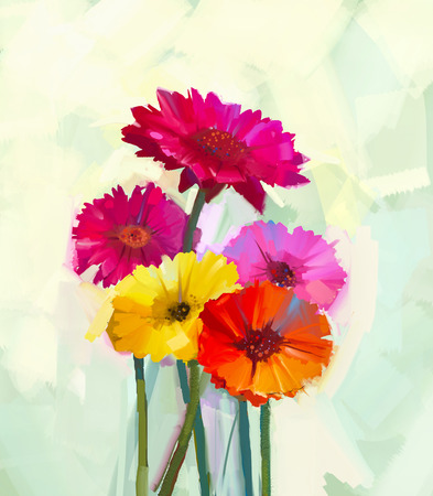 Still life of yellow and red gerbera flowers .Oil painting of spring flowers . Hand Painted floral Impressionist style