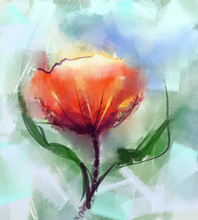 Closeup Abstract floral paintings. Watercolor painting red poppy flower mix oil painting in background.Spring floral nature in soft green color background Banque d'images