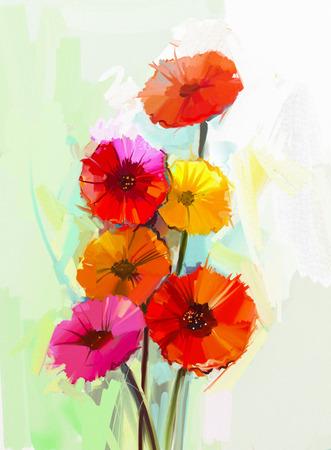vida natural: Pintura al óleo abstracta de flores de primavera. Bodegón de flores amarillas y rojas del gerbera. Pintado a mano estilo impresionista floral