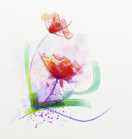 blurs: Abstract floral watercolor paintings.Red flowers in soft color on grunge paper background Stock Photo