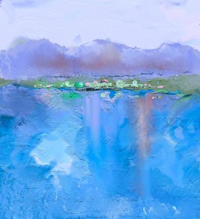 Abstract kleurrijk olieverfschilderij landschap op canvas. Semi-abstract beeld van heuvel en blauwe rivier met lucht. Lente seizoen natuur achtergrond