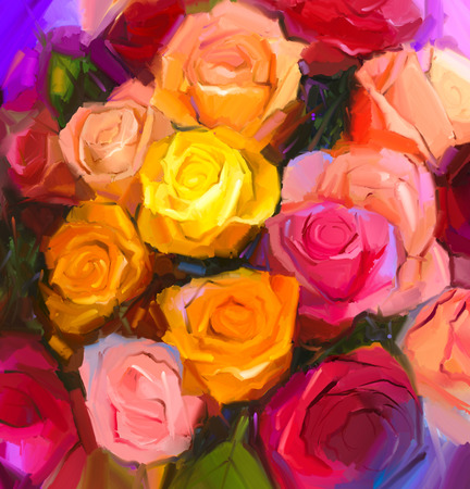 still life: Still life of yellow and red color flowers .Oil painting a bouquet of rose flowers . Hand Painted floral Impressionist style.