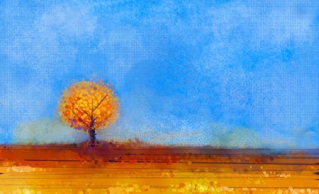 naranja arbol: Resumen paisaje, pintura al óleo del árbol y sobre el terreno. Amarillo, naranja, el rojo y el azul cielo de la temporada cayendo