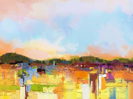 キャンバスにカラフルな油絵風景を抽象化します。ヒルと黄色と青い空と緑のフィールドの半抽象的なイメージ。春の季節、自然の背景