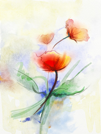 Abstract floral watercolor paintings.Red poppy flowers in soft color on grunge paper background