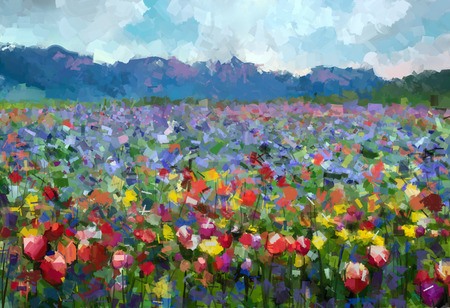 paisaje: Pintura al óleo colorida primavera verano paisaje rural. Flores abstractas Tulipanes florecen en el prado con la colina y el cielo azul color de fondo.