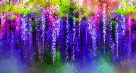 추상 보라색, 빨간색과 노란색 꽃. 수채화 그림. 나뭇잎 배경 꽃 봄 보라색 꽃 등나무 트리 스톡 콘텐츠