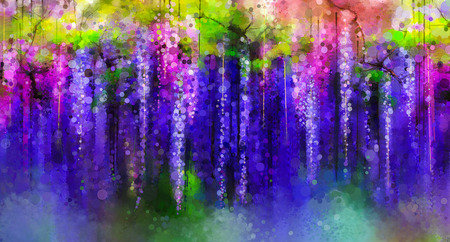 green purple: Abstract violet, red and yellow color flowers. Watercolor painting. Spring purple flowers Wisteria tree in blossom with bokeh background