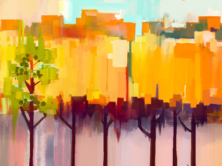 Abstract colorful oil painting landscape on canvas. Semi- abstract image of tree in yellow and green with blue sky. Spring season nature background Stock Photo