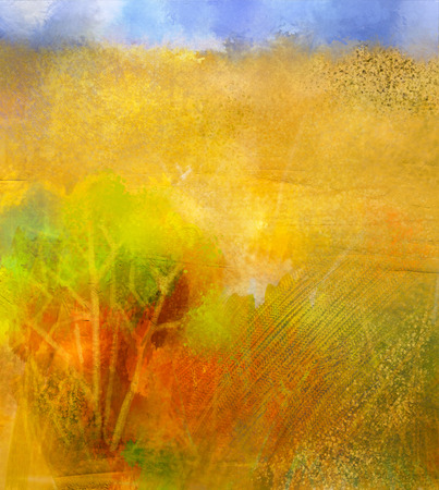 colores pasteles: Abstract colorful oil painting landscape on canvas. Semi- abstract image of tree in yellow and green with blue sky. Spring season nature. grunge yellow texture background