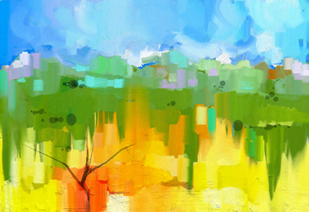 キャンバスにカラフルな油絵風景を抽象化します。青空と黄色と緑のフィールドのツリーの半抽象的なイメージ。春の季節、自然の背景
